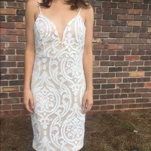 Charlotte Russe Nude & White Lace Dress